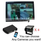 Video Multiplexer 4 Nightvision Camera 7 inch Car Quad Monitor