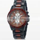 Top Stainless Steel back wood Wristwatch