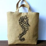Large summer embroidered jute tote bag, hand embroidered