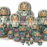 Large Nesting Dolls Matryoshka with Bright Flowers Russian Nesting Dolls Wood Nesting Dolls Matryoshka For Sale Set 20 pc