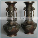 Decoration Japanese Meiji Style Antique Brass Flower Vase for sell