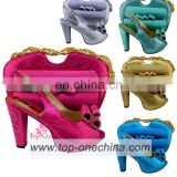 Nigeria high heel Italian shoes and bags/Lidies shoes matching bags fushia shoes bags
