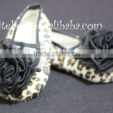 Leopard Print Shoes with Black Rosettes Pettishoes Crib Shoes MAS22