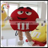 Funny m&m red bean mascot costume, M chocolate bean plush costume for adult