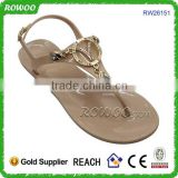 Summer 2016 fashion Beige crystal women flat sandal shoes