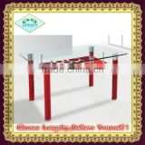 hot selling new design cheaper plastic legs glass dining table