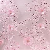 Alibaba dot com pink pearls tulle lace fabrics 3d flowers embroidery designs african french lace