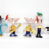 Popular cartoon Phineas and Ferb Action Figurine,U.S. cartoon Phineas and Ferb plastic mini figure,3d plastic pvc mini figures
