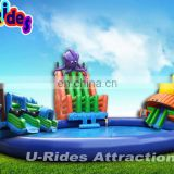 Octopus Style Amusing Inflatable Swimming Pool With Slide Water Play Equipment For Sale