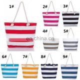 Women fashion jute personalized Monogrammed Striped fashionable Canvas Beach Tote Bag