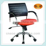 Small swivel office chair red black