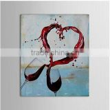 Pretty forming a heart-shaped red wine glasses 100%handmade classic decoration oil painting in canvas
