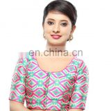 Pink patola readymade stitched blouse for women