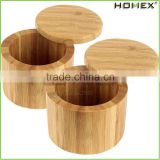 Natural Bamboo Salt and Spice Box with Round Lid/Homex_FSC/BSCI Factory