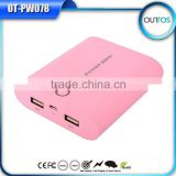 Rubber oil processed portable mobile power bank with dual USB outputs