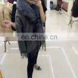 100% real thick pashmina shawl large fur cape with fox fur collar