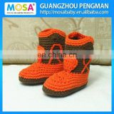 Crochet Baby CowGirl Boots Handmade Cotton Orange/Brown Baby Winter Booties Whosale