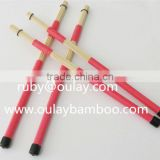 3mm bamboo brushsticks /drum sticks with colordul rubber tubes and black rubber taps