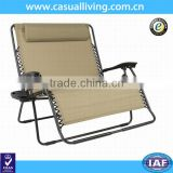 Double Size Folding Lounge Chair Recliner Zero Gravity Sports Infinity Outdoor Beige