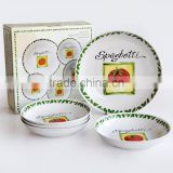 5PCS Pasta Bowl Set, Porcelain with Decal