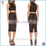 2015 new fashion latest black lace skirt and blouse sets for women