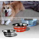 Coloured Anti Skid Dog Bowl with Base Black