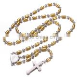 Latest design beads necklace stainless steel rosary bead necklace