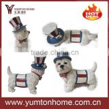 Resin small dogs figurine with clothes/hat