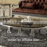 Royal luxury stainless steel hotel/living room furniture marble coffee table center table B818