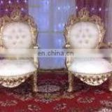 Luxury wedding gold Throne king chair with PU
