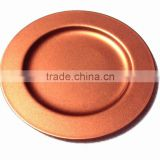 Copper color metal charger plate for Wedding & decoration, Cheap charger platter for Christmas Festival