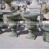 green marble pots flower planter