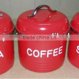 3PC RED CANISTER STORAGE SET JAR TEA COFFEE SUGAR RETRO TIN ENAMEL METAL NEW