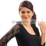 Black lace crochet stretchable readymade blouse for women