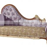 Antique Classic Palace Chaise Lounge, Wood Carving Recliner Sofa, Luxury Wood Sofa Living Room Furniture