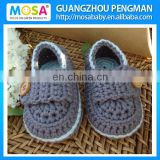 Handmade Cotton Baby Shoes Newborn Baby Booties Grey Blue With Button