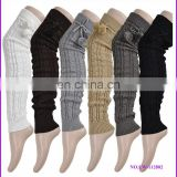 wholesale knee high cable knit leg warmers with pom pom
