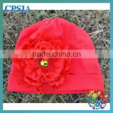 Wholesale organic cotton beanies with daisy flower for infant and toddle
