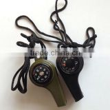 3 in 1 multifunctional camping plastic survival whistle with compass and thermometer