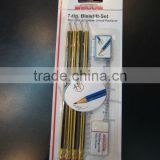 4pcs stripe pencils + sharpener + eraser + ruler in blister card
