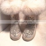 Aidocrystal wholesale Factory Price 2016 fashion warm plush women's boots with rhinestone