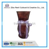 Large Cylinder Brown Glass Vase with Silk Ribbon Decoration