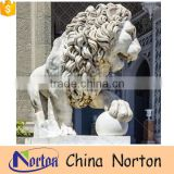 Sculpting stone lion statues for sale hotel decorations NTBM-L006Y