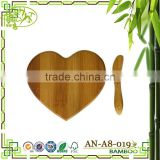 AONONG Tastefully Yours Heart-Shaped Bamboo Cheese Board New Style Butcher Block Serving Tray