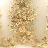 3D Floral Pearl Beaded Ivory Lace Fabric Embroidered Lace for wedding bridal Fabric