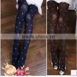 HUE Fashion Winter Fleece Lined Winter Sheer Large Women Nude New Navy Blue Brown Polka Dots Bow Diamond Women Tights