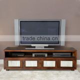 Sideboard tv MEXICO with frame bamboo dark brown teak wood furniture
