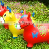 2016 SHUOYANG pvc milk cow jumping toy hopper jumping bouncy animal for sale