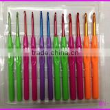 Colorful DIY plastic handle aluminum crochet hook in set