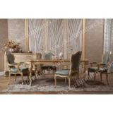 Antique gold cosrco dining room table set